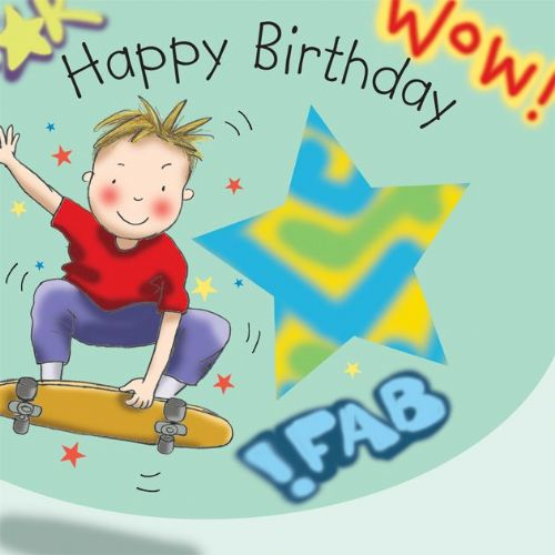 TW651 - Boys Happy Birthday Card Skateboard